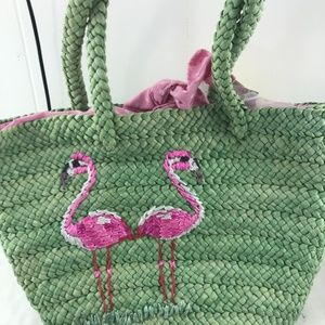 Pink Flamingo embroidered green Handbag QVC Style